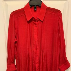 ALFANI WOMEN'S RED BLOUSE. SHEER. SMALL. NWT